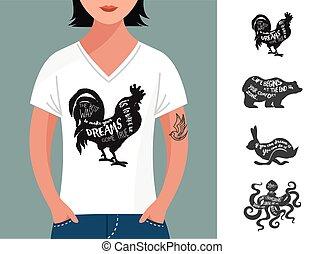 set, ouderwetse , noteren, t-shirt, ontwerp, hipster, ...