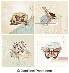 set, ouderwetse , -, papier, vector, ontwerp, plakboek, communie