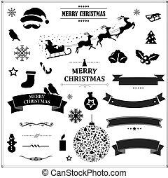 set, ouderwetse , symbolen, black , linten, kerstmis