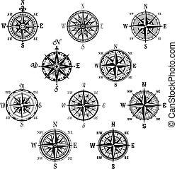 set, ouderwetse , symbool, kompas, vrijstaand, roos, wind