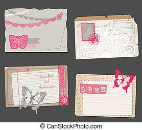 set, ouderwetse , -, vector, ontwerp, papieren, plakboek, of