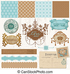 set, ouderwetse , -, vector, ontwerp, trouwfeest, plakboek, ...