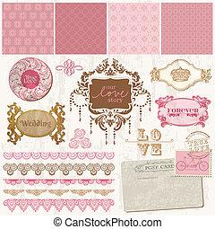 set, ouderwetse , -, vector, ontwerp, trouwfeest, plakboek, communie