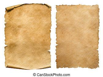 set, ouderwetse , vrijstaand, of, papier, bladen, witte , perkament