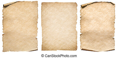 set, ouderwetse , vrijstaand, of, papier, witte , perkament