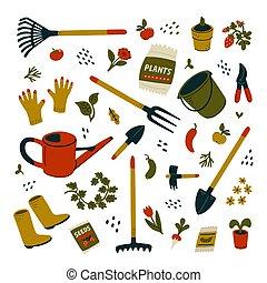 set., outils, équipement, types, différent, gardening., jardin