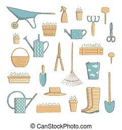 set., outils, jardinage, collection, horticulture, utile, chapeau, etc., vecteur, dessin animé, icône, vendange, illustration., style, bêche