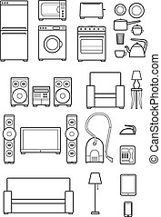 set outline icons of household appliances