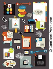 Set ovarious stickers. - scheme, color, layout, bar, brand,...