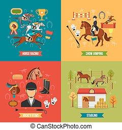set, paardrijden, paarde, ontwerp, concept
