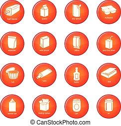 set, pacchetto, icone, vettore, tipi, rosso
