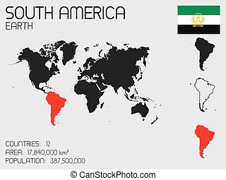 set, paese, infographic, sud america, elementi