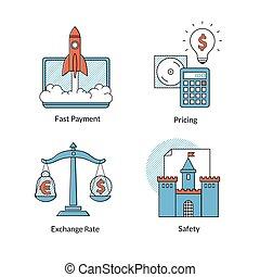 set, pagamento, icone, digiuno, ecommerce, pricing., linea, rating., sicurezza