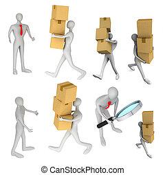 set, pakket, bezorgen, een ander, beelden, man, 3d