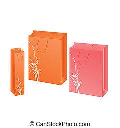 set, pakketten, drie, papier, ontwerp, floral