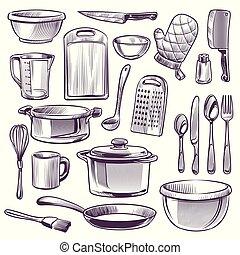 set, pan, frittura, retro, scarabocchiare, cucina, vetro, taglio, cucchiaio, utensils., asse, vettore, equipment., coltello, tazza, ciotola, cottura, forchetta, schizzo