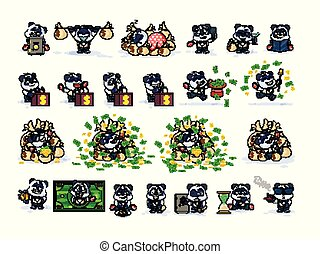 Set panda bear in business suit stickers emoticons