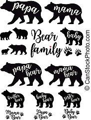 set, papà, mamma, vettore, orso, bambino