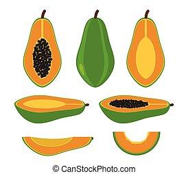 set, papaja, -, vrijstaand, illustratie, vector, achtergrond, witte