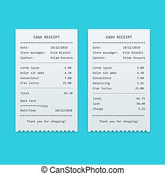 Set Paper check and financial check isolated. Sales printed receipt, shopping paper bill atm vector mock up. Bill atm template. Vector illustration