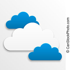 Set paper clouds isolated on white background