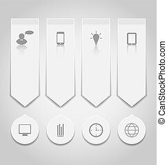 Set paper labels with infographic icons