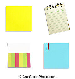 set paper notes isolated on white background