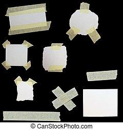 set paper scraps and masking tape isolated on black background