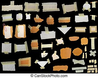 set paper scraps, cardboard, newspaper and masking tape isolated on black background