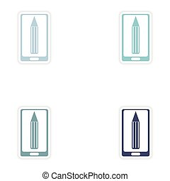 Set paper sticker on white background mobile phone pencil