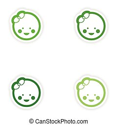 Set paper stickers on white background baby girl