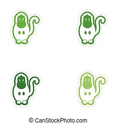 Set paper stickers on white background gorilla