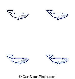 Set paper stickers on white background whale