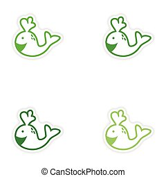Set paper stickers on white background whale smiles