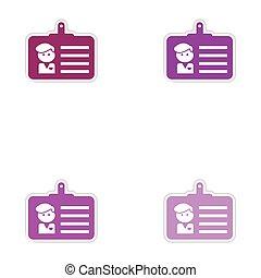 set, papier, identiteit, achtergrond, witte , stickers, kaart