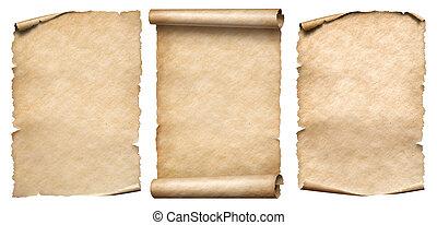set, parchments, ouderwetse , vrijstaand, papier, witte , of