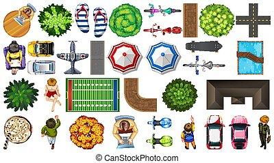 set, parco, aereo, decorazioni, elemento, isolato