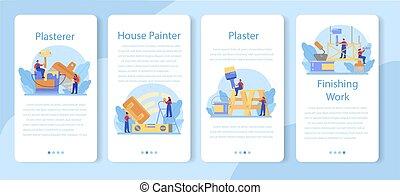 set., parede, aplicação, bandeira, móvel, plasterer, casa, pessoas