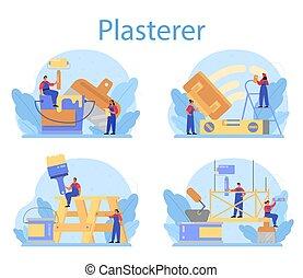set., parede, conceito, plasterer, casa, emplastrar, uniforme, pessoas