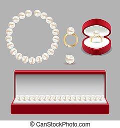 set, parel, jewelery, illustratie, realistisch, vector