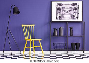 set, parete, sedia, lampada, metallo, pittura, mensola, nero, giallo, vasi, viola