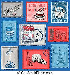 set, parijs, ouderwetse , -, frankrijk, postzegels, vector, ...