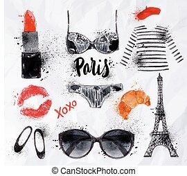 Set Paris watercolor - Set Paris with various symbols of...