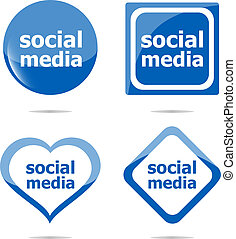 set, parola, media, button), sociale, (web, icona