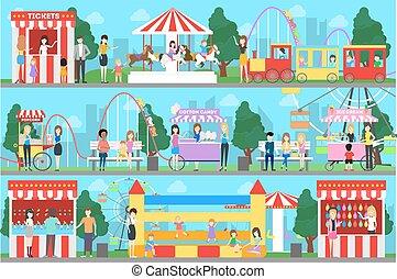 set., parque, divertimento