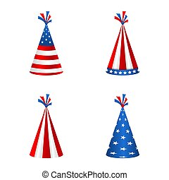 Set Party Hats with Flag of the United States of America. Accessory for American Holidays