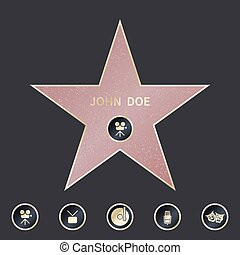 set, passeggiata stella, emblemi, vettore, cinque, categories., simbolizzare, fama