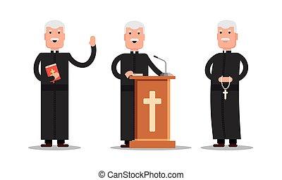 Set Pastor character standing with cross, Bible, tribune...