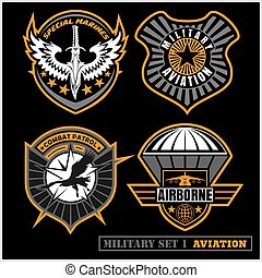 set, patches, leger, typografie, anderen, t, militair,...