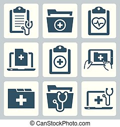 set, patiënt, medisch verslag, vector, pictogram